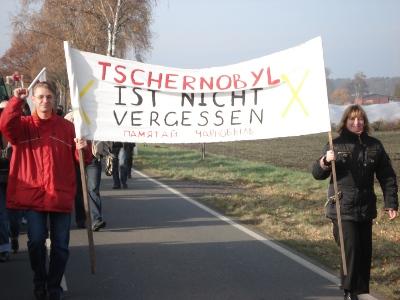 Belarussische Delegation auf der Anti Castor Demo 2008